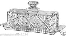 Crystal Butter Dish Covered With Lid Handle Holiday Serving Elegant Dishes Gift