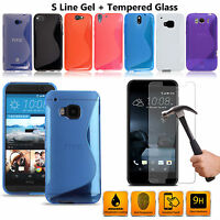 S-Line Wave TPU Gel Skin Case Cover & Tempered glass For HTC Phones