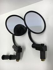 "Black Bar End Mirrors Round 7/8"" or 1"" Cafe Racer Custom Motorcycle Motorbike"