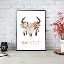 Bull Skull Print Fashion Poster Home Interior Wall Picture Decoration A4
