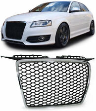 SPORTS BLACK HONEY COMB WEB RS3 LOOK GRILL WITH CHROME SURROUND AUDI A3 8P 05-08