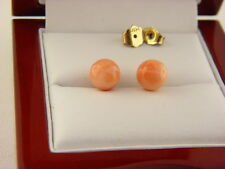 Coral Bead Stud Earrings in 18k Yellow Gold.
