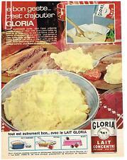 PUBLICITE ADVERTISING  1960  LAIT GLORIA