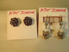 2 Pair Betsey Johnson Earrings Pave Skulls & Pink Roses new w tags