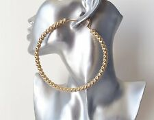"HUGE! SEXY! 4"" gold tone oversized twist spring style hoop earrings, NEW IN!"