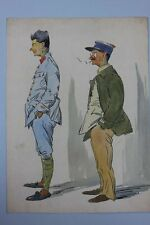 Maurice Buisson (XX.Jh.) - Französische Offiziere Karikatur - Aquarell