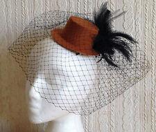Negro Brown Mini Sombrero De Copa cubrían Fascinator de la pluma Sombrerería burlesque boda