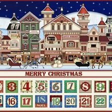 "QT Santas Coming to Town by Dan Morris 24613 24"" Advent Calendar Cotton Fabric"