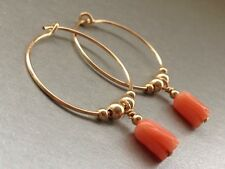 Vintage Carved Salmon Tulip Flower Coral 14ct Rolled Gold 20mm Hoop Earrings