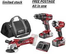 Ozito 18v Cordless COMBO KIT 18v x2 LITIO batterys FAST CHARGER KIT COMPLETO