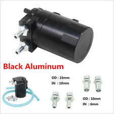 Universal Aluminum Round Oil Reservoir Catch Tank Can Baffled Closed Loop Black