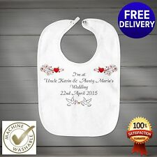 Fully Personalised Wedding Day Baby Bib Perfect Gift  or Favour. Any Text.