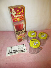 "3 Vintage NOS Osterizer ""Mini Blend"" 1/2 Pint Containers in Original Box"