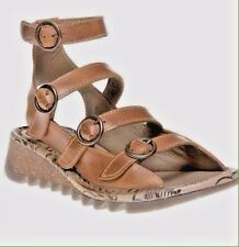 FLY LONDON CAMEL TYSE LEATHER GLADIATOR SANDALS.. SIZE 3 NEW IN BOX