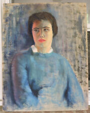 Vintage Oil Portrait LARGE Painting Mid-Century WOMAN in BLUE by M. HELWEG c1958