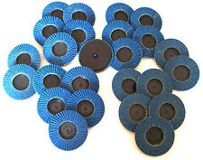 "25pc CALHAWK 3"" ROLOC SANDING FLAP DISCS ZIRCONIA TYPE R ASSORTMENT ROLL LOCK"