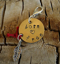 Brass BORN FREE Feather Heart Red Protection String Charm Pendant Hand Stamped