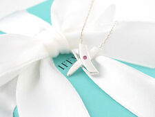 Tiffany & Co Silver Picasso Pink Sapphire Kiss X Necklace 19 Inch Packaging
