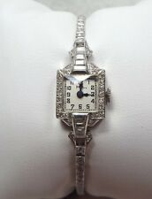 Platinum and Diamond Vintage Ladies Wristwatch w/ 1 carat Diamonds ~Runs~