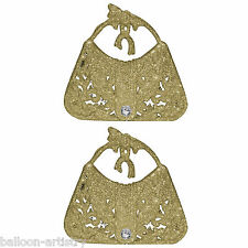 2 Christmas GOLD Hanging Glitter Sparkle Handbags Baubles Tree Decorations