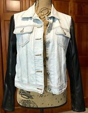 Steve Madden Jean Jacket With Faux Black Leather Sleeves Size LARGE