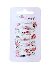 6 Mini White Rose Floral Print Hair Clips Snap Bendies Sleepies - Accessories
