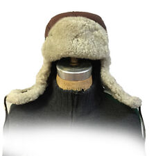 Brown Russian Military Style Aviator Trapper Genuine Shearling Sheepskin Hat 2XL