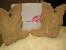 OBSESSION RULES HOPEY FRINGE BOOT WOMEN'S SIZE 10 - LUGGAGE SUEDE