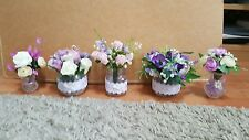 5 x ARTIFICIAL FLOWERS TABLE WEDDING DECORATIONS IN GLASS VASE CENTREPIECE