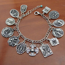 Catholic Religious Medals Silver Saints PRAY FOR US Cross Chain Bracelet Bangle