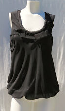Cabi 155 Black Grey Chiffon Bubble Jewel Tank Top size XS