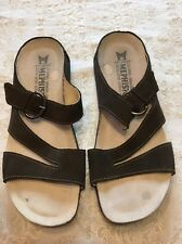 """MEPHISTO AIR RELAX """"AFIDA"""" Slides Sandals 8 Brown Suede Leather Very Good 38"""