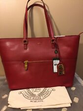 NWT LAUREN RALPH LAUREN Whitby Pocket Shopper Tote Fall Red Saffiano Leather