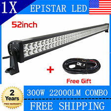 52inch 300W Combo LED Light Bar Work Lamp Off road Driving Fog Truck Jeep+Wiring