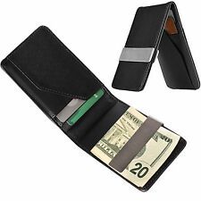 Mens Genuine Leather Silver Money Clip Slim Wallets Black ID Credit Card Holder