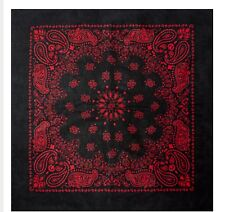 Bandana Scarf Black Red Western Round Paisley Extra Large 27 inch square Cotton