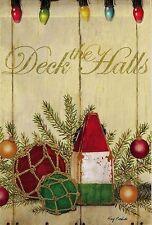 "Deck The Halls Christmas Garden Flag Nautical Buoy Banner Evergreen 12.5"" x 18"""