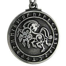 Pewter Norse God Odin Sleipnir Horse Pendant Viking Asatru Necklace Rune Jewelry