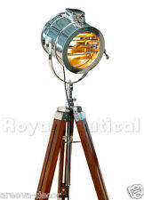 Royal Nautical Spotlight Searchlight Teak Wooden Tripod Floor Lighting Lamp#