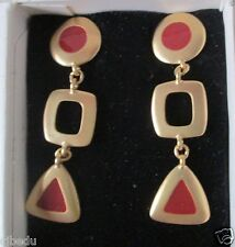 AVON*FASHION COLOR PIERCED EARRINGS SURGICAL STEEL POSTS*CARNELIAN RED*NIB*1992
