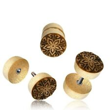 PAIR CROCODILE WOOD FAKE TRIBAL FLOWER LASER CUT CHEATER PLUGS 18g PLUG 00G ENDS
