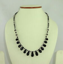 NATURAL BLACK ONYX FINE FACETED DROP SHAPE GEMSTONE NECKLACE 24 GRAMS