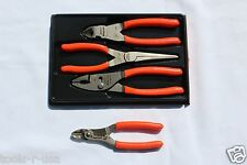 Snap On Pliers And Cutters Orange Set 3 pc. FREE Wire Striper/Crimper  PL307ACF