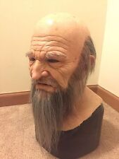 Scary realistic halloween Silicone Mask old man bearded shattered fx