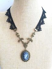 Black lace Gothic Goth Victoria Vintage Style Cameo Vampire Chocker Necklace
