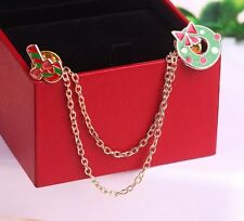 Wreath Cane Stud Blouse Collar Clip Neck Tip Brooch Pin Chain Christmas Gift AD