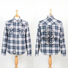 MENS RETRO STYLE FLANNEL SHIRT WARM LINED SNAP FASTEN COLLEGE STYLE M