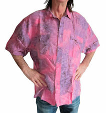 "100% SILK dark PINK/ PURPLE TIE DYE Hawaiian shirt dark  M, 50"" short sleeve new"