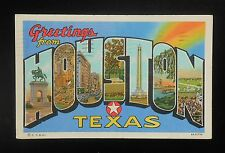 1947 Large Letter Greetings Houston TX Harris Co Postcard Texas