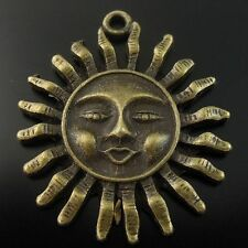 13pcs Antique Style Bronze Tone Alloy Sun Smile Face Pendant Charms 30*30*4mm
